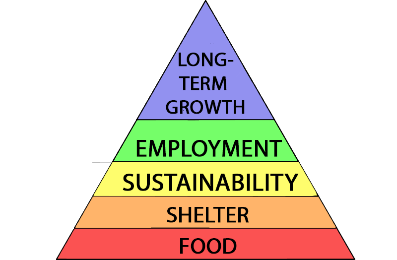 Daydreamer Hierarchy Of Needs Pyramid. Prioritise food, then shelter, then sustainability, then employment and then long-term growth.