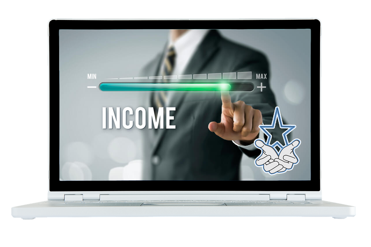 Laptop image with income growth bar