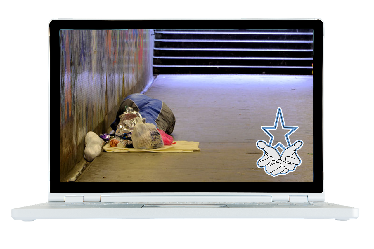Laptop showing a rough sleeper in a subway with a logo in the bottom right hand corner showing prayer hands with a star